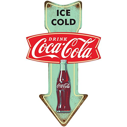 (Ice Cold Coca Cola Embossed Tin Sign w/ Pre-Drilled Holes For Easy)