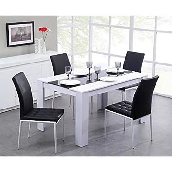 Générique Damia Table de séjour 140 x 90cm Noir/Blanc: Amazon.fr ...