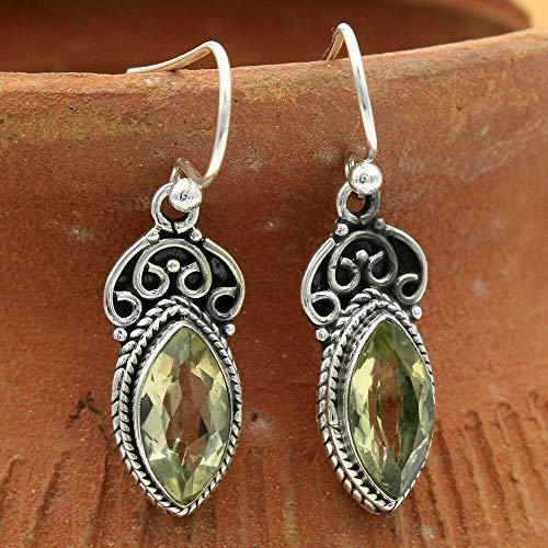 Green Beryl Gemstone 925 Sterling Silver Solid Designer Dangle Earring #KD-2326