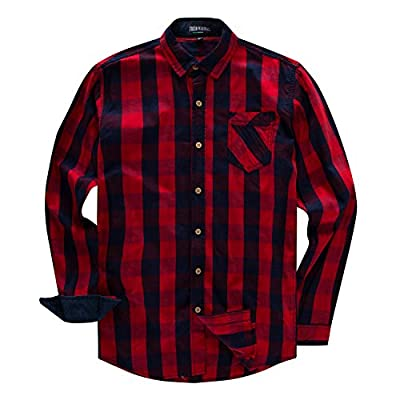 Men's 100% Cotton Regular-Fit Long-Sleeve Button-Down Buffalo Plaid Shirt with Pocket