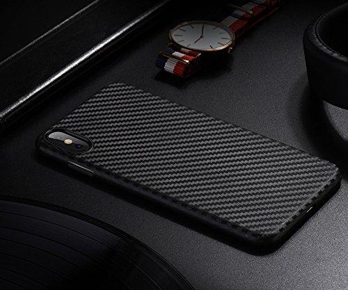 Hülle Carbon Fiber Case für iPhone X Ultra-Thin Patrone mit Carbon Fiber Effekt iPhone X Rahmen Stoßfänger für iPhone 10 Ultra Slim Cover Case, Schwarz