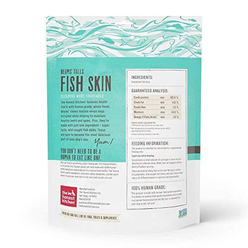 The Honest Kitchen Beams Fish Skin Treat – Dehydrated Grain Free Fish Skins Dog Chew, Talls 12 oz