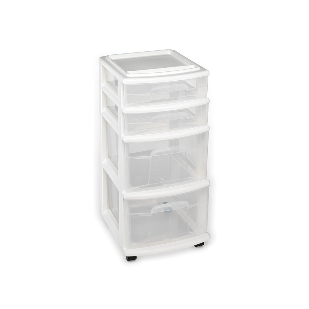 Homz Plastic 4 Drawer Medium Cart, White Frame with Clear Drawers, Casters, Set of 1 by Homz
