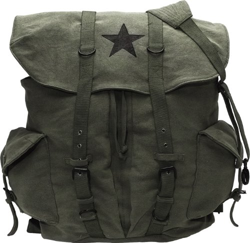 Canvas Backpack - Vintage Rucksack with Star Detail By Rothco from Rothco