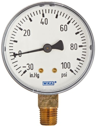 WIKA 4253060 Commercial Pressure Gauge, Dry-Filled, Copper Alloy Wetted Parts, 2-1/2