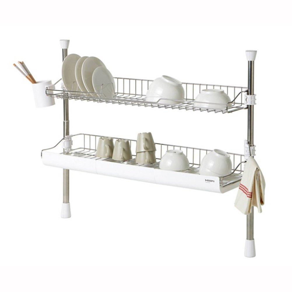 HANSSEM Wide Column Style Sink Rack Two Tier 800 Shelf Liner Dish Holder
