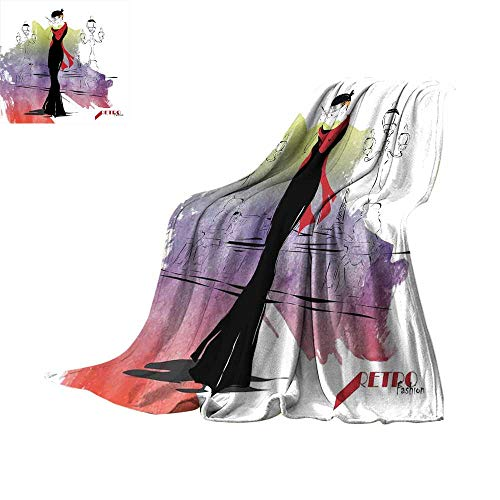 RenteriaDecor Girls,Fashion Warm All Season Blanket Girl with Red Shawl on The Street with Lanterns Sixties Trends Retro Style Glamour Plush Microfiber Blanket W80 x L60 -
