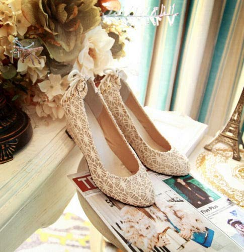 Stylish Womens Round Toe Wedge Heel Shoes Back Lace up Pumps Dating Wedding Shoes Sz 7-8 Cream Gold