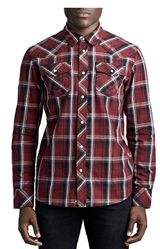 True Religion Men's Logo Horseshoe Plaid Print Western Fit Long Sleeve Shirt (Large, Orpheum Brotherhood)