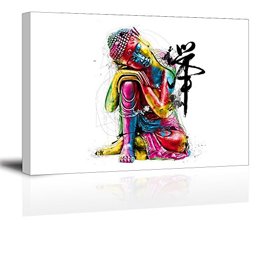 Zen Buddha Statue Wall Art - Ready to Hang Canvas Prints for Bedroom, Waterproof, 16x24 inch