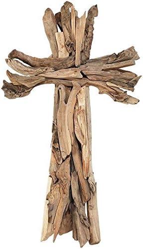 Crucifix mural en bois flott/é 40 cm