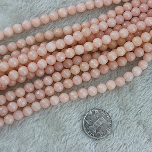 8mm Faceted Round Pink Jade Beads Loose Gemstone Beads for Jewelry Making Strand 15 Inch (48-50pcs)