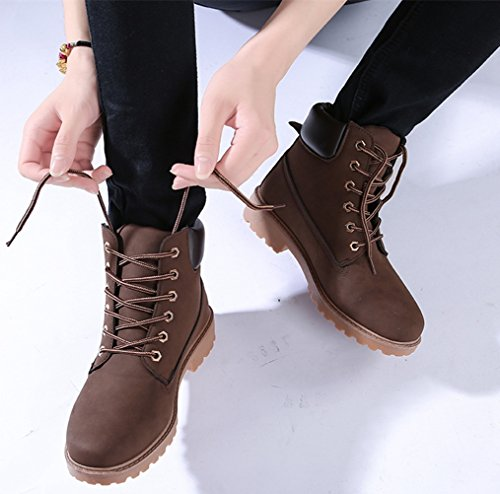 DADAWEN Women's Lace Up Low Heel Work Combat Boots Waterproof Ankle Bootie Brown US Size 11 by DADAWEN (Image #6)