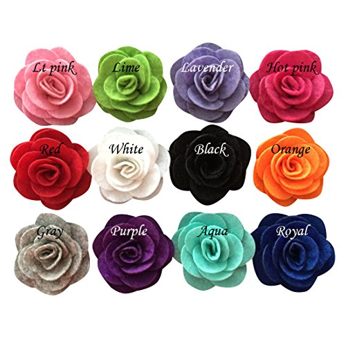Yazon 12pcs 2 inch Felt Rosette Flower Hair Clip Baby Fabric Rosette Flower Hair Clips Mix 12 Color