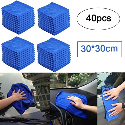 Inverlee 40PC Car Cleaning Microfiber Car Drying Towels Car Wash Towels Car Cleaning Detailing Towels Mirofiber (Gun Scrubber Liquid)