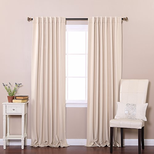Best Home Fashion Thermal Insulated Blackout Curtains - Back Tab/ Rod Pocket - Beige - 52