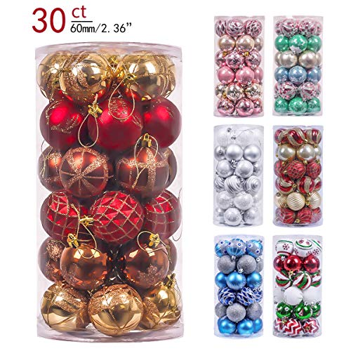 Valery Madelyn 30ct 60mm Woodland Red Brown Shatterproof Christmas Ball Ornaments Decoration,Themed with Tree Skirt(Not Included)