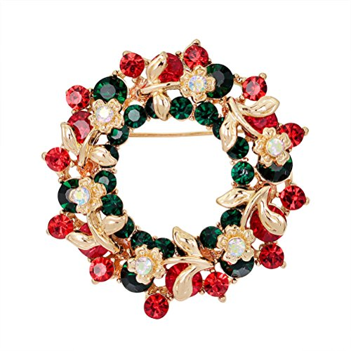 JUNKE Christmas Wreath Brooch Pin Crystal Rhinestone Breastpin Decoration Shining Jewelry ornaments for Xmas (Brooch Wreath)