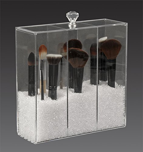 american acrylic display inc glamourebox brush holder storage case 3 compartment clear acrylic. Black Bedroom Furniture Sets. Home Design Ideas