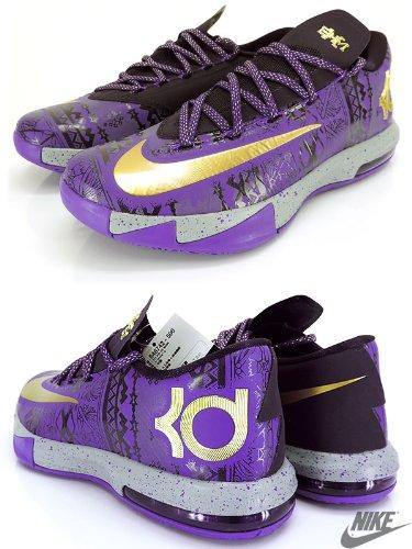 Nike KD VI BHM Herren Basketball Trainer 646742 schwarz Geschichte Monat Turnschuhe Schuhe Lila Venom Metallic Gold Lila Dynastie 500