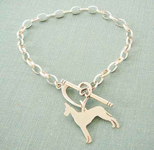 - .925 Sterling Silver Standing Great Dane Dog Chain Bracelet with Heart Toggle Pet Memorial Jewelry