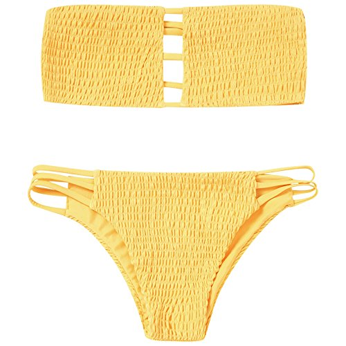 2018 New Trendy Two Pieces Bandeau Bikini Set Ladder Cut Bandeau Smocked Strapless Bikini (New Two Piece)