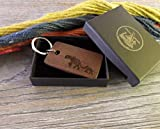 Elephant with Baby Design Keyring, Custom Wooden Keychain