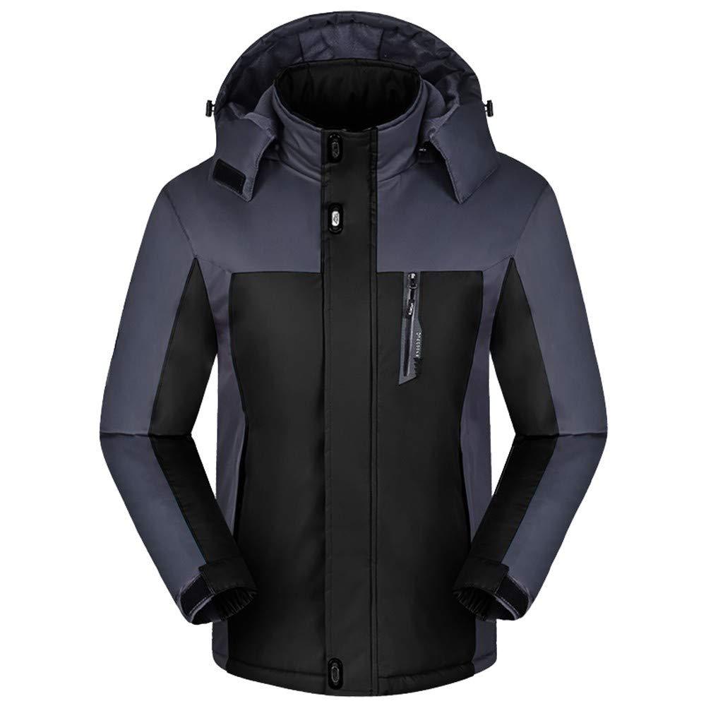 Sumen Big Men Winter Long Sleeve Warm Fleece Hooded Zip Ski Jacket Windproof Rain Jacket