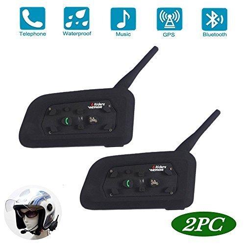 Motorcycle V6 Bluetooth Intercom/Headset 1200M Full Duplex Interphone Skiing Scooter Communication Waterproof Motorbike Helmet Headset Advanced Noise Control (Dual Package)