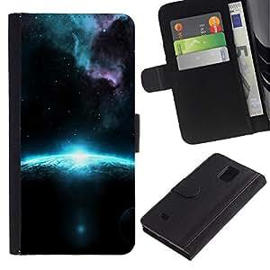 Billetera de Cuero Caso Titular de la tarjeta Carcasa Funda para Samsung Galaxy Note 4 SM-N910 / Sunrise In Space / STRONG