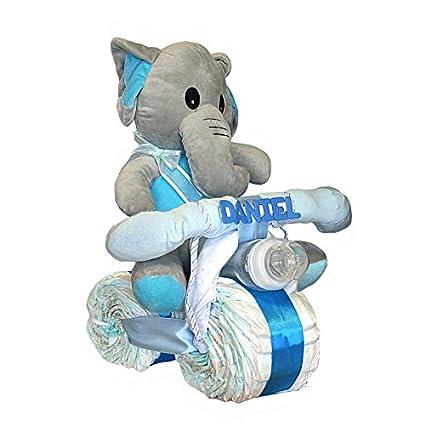 Tarta de pañales Dodot - Moto Elefanta azul - Mil Cestas
