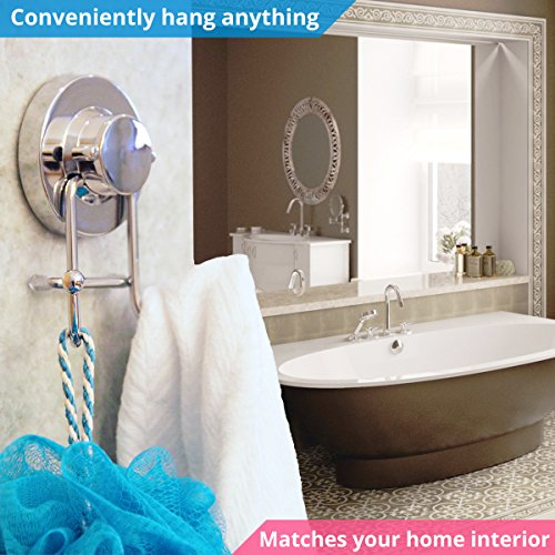HOME SO Towel Hook with Suction Cup Holder - Bathroom Shower Kitchen Removable Hooks Hanger for Bath robe, Towels, Coat, Loofah - Stainless Steel, Chrome by HOME SO (Image #1)