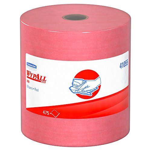 Wypall X80 Reusable Wipes (41055), Extended Use Cloths Jumbo Roll, Red, 475 Sheets/Roll; 1 Roll/Case by Wypall
