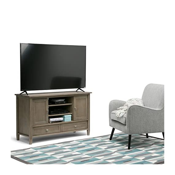 Simpli Home AXWSH004-GR Warm Shaker Solid Wood 47 inch Wide Rustic TV Media Stand in Distressed Grey  For TVs up to 50 inches - Handcrafted with care using the finest quality solid wood Hand-finished with a Distressed Grey finish and a protective NC lacquer to accentuate and highlight the grain and the uniqueness of each piece of furniture Wide and Tall TV Stand is perfect for TVs up to 50 inches - tv-stands, living-room-furniture, living-room - 51xM8JSQxoL. SS570  -