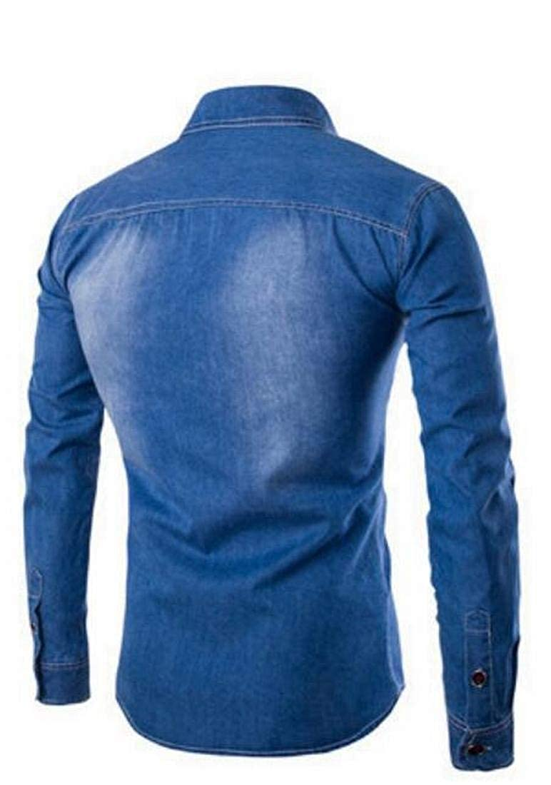 XTX Mens Casual Single Breasted Long Sleeve Slim Fit Chest Pocket Denim Shirt Blouse