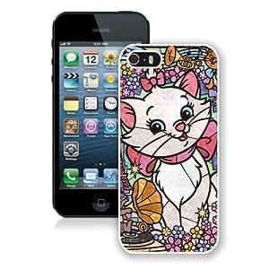 Custom Best Design Lovely Marie Cat Stained Glass White iPhone 5 5S Case