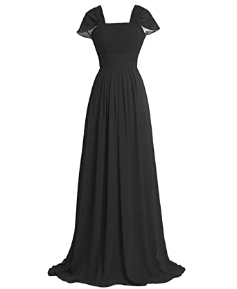 Victoria Prom Chiffon Butterfly Sleeves Bridesmaid Formal Evening Dress Black us2