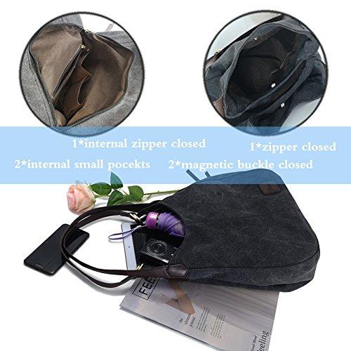 Women's Everyday Casual Shoulder Bags - Canvas Hobo Handbag Cotton Totes Purses Grey by Dzzzzc (Image #3)