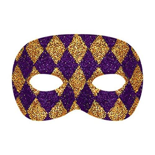 (Amscan Glitter Purple & Gold Harlequin Domino Mask Mardi Gras Costume Party Accessory)