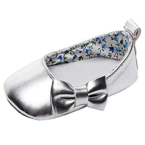 Lanhui Newborn Single Shoes Toddler Baby Girls Shallow Bowknot First Walkers Soft Sole Silver by Lanhui (Image #6)