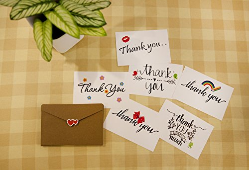 Thank You Note Cards Postcards with Funny Decor Stickers Set - 48 Assorted Bulk Pack Handwritten Greeting Cards - Blank Backside - For Wedding, Baby Shower -Brown Craft Paper Envelopes - 4 x 6 inches Photo #7