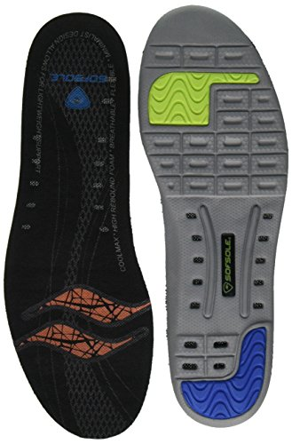 Sof Sole Thin Fit Medium Arch Lightweight Low Volume Shoe Insole, Men's Size (Sof Sole Arch Insoles)