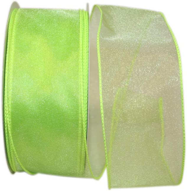 Reliant Ribbon Sheer Lovely Value Wired Edge Ribbon, 2-1/2 Inch X 50 Yards, Apple Green