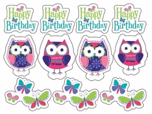 CAKEUSA Cute PATCHWORK OWLS Birthday Cake Topper Edible Image 1/4 Sheet Frosting