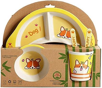 Vaorwne Bamboo Fiber Baby Cartoon Eating Tableware Kids Dinner Plate Toddler Feeding Dishes Children Training Bowl Spoon Fork 5Pcs//Set Giraffe