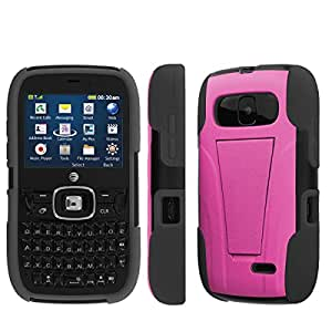 NakedShield ZTE ALTAIR 2 Z432 Hot Pink T Armor Tough Shock Proof KickStand Phone Case