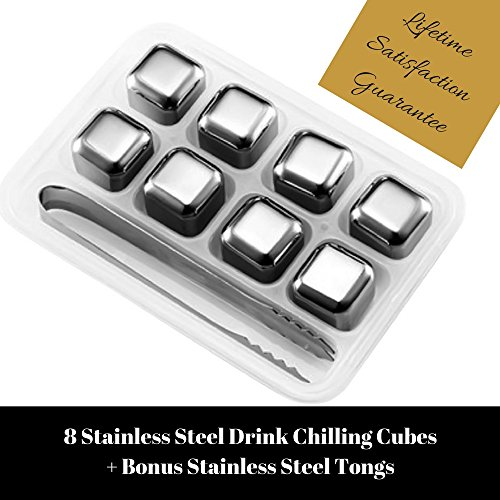 Whiskey-Stones-Luxury-Gift-Set-Stainless-Steel-Reusable-Ice-Cubes-with-Barman-Tongs-and-Freezer-Tray-by-Southern-Chill
