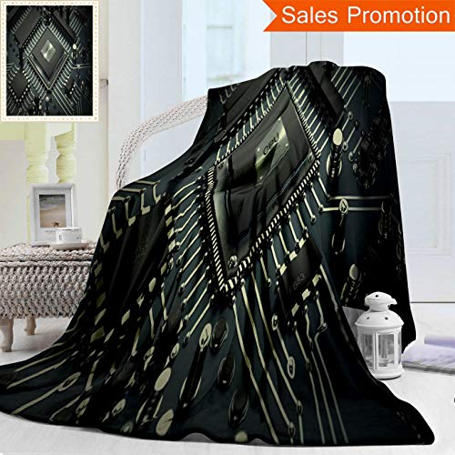 "Unique Double Sides 3D Print Flannel Blanket Central Computer Processors Cpu Concept Technology Background High Resolution D Rende Cozy Plush Supersoft Blankets for Couch Bed, Throw Blanket 50"" x 60"""