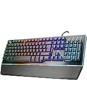 Trust GXT 860 Thura Semi Mechanisch Gaming Toetsenbord (QWERTY Layout, RGB LED Verlichting, 12 Multimediatoetsen, Anti Ghosting, Verwijderbare Polssteun, Metalen Bovenplaat), Zwart