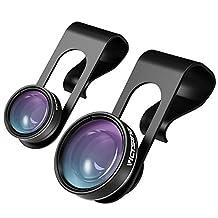 VicTsing Fisheye Lens, 3 in 1 Upgarded 180° Fisheye & 120° Super Wide Angle Lens & 10X Macro Lens, Clip On Cell Phone Camera Lens Kits ( No Dark Corner No Distortion)